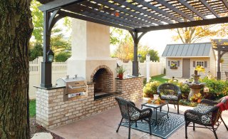 Pergola with outdoor kitchen